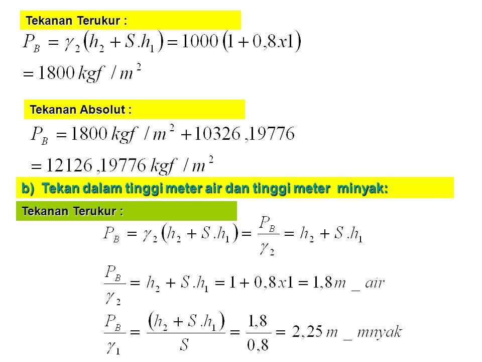 b) Tekan dalam tinggi meter air dan tinggi meter minyak: