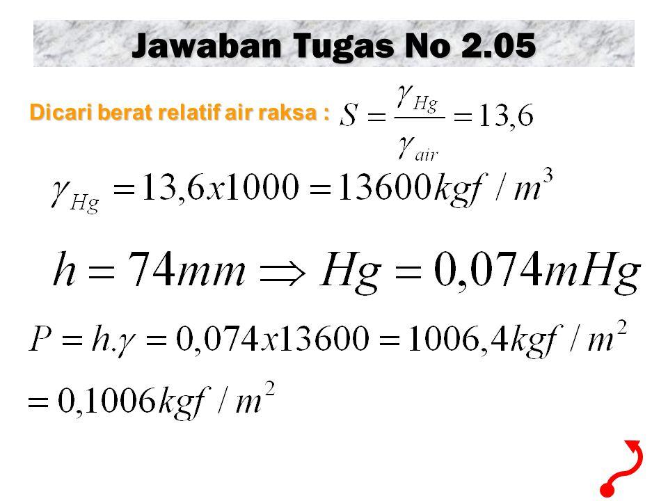 Jawaban Tugas No 2.05 Dicari berat relatif air raksa :