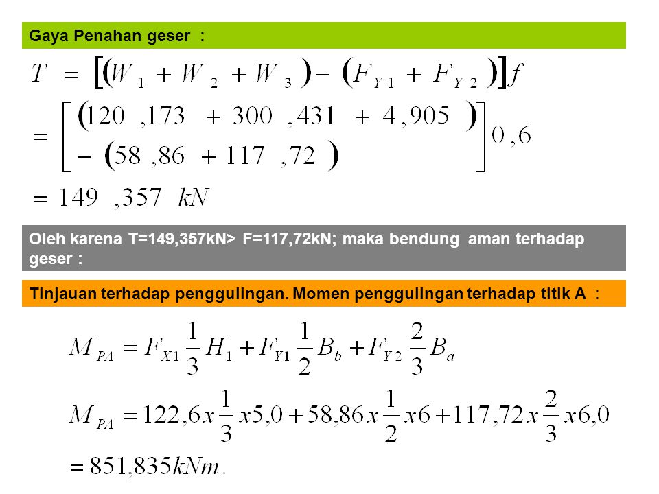 Gaya Penahan geser : Oleh karena T=149,357kN> F=117,72kN; maka bendung aman terhadap geser :