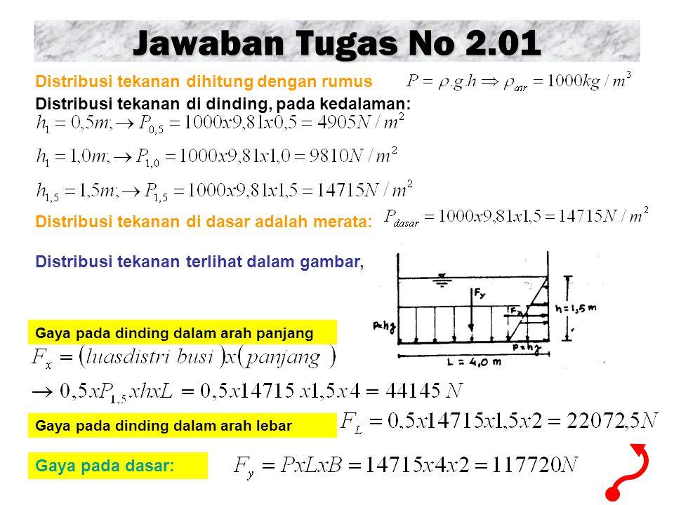Jawaban Tugas No 2.01 Distribusi tekanan dihitung dengan rumus