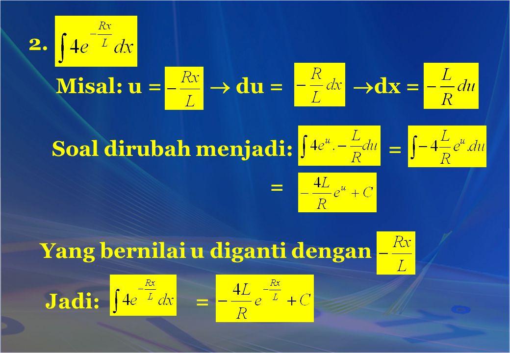 2. Misal: u =  du = dx = Soal dirubah menjadi: = = Yang bernilai u diganti dengan.