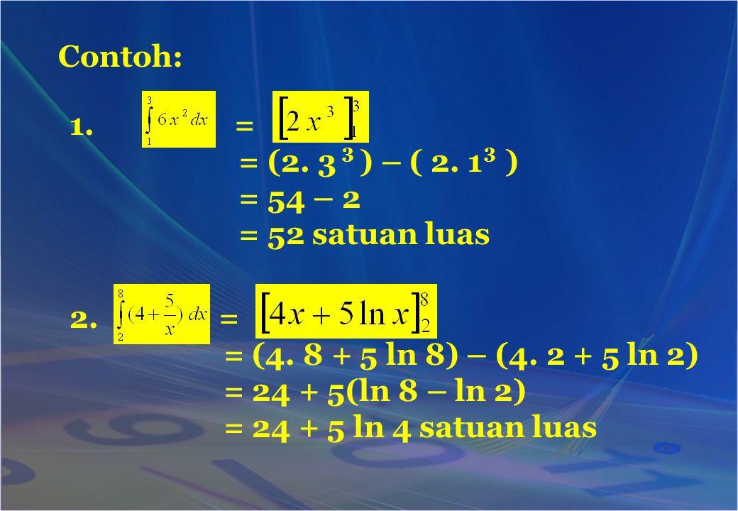 Contoh: = = (2. 3 ) – ( 2. 1 ) = 54 – 2 = 52 satuan luas =