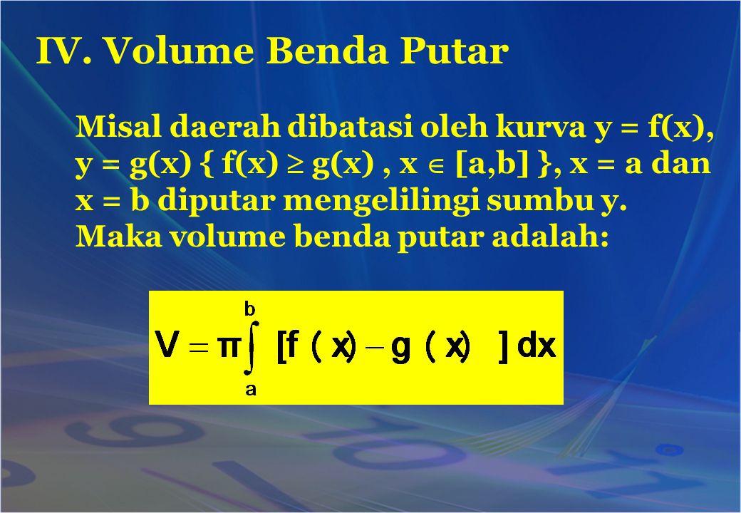 IV. Volume Benda Putar Misal daerah dibatasi oleh kurva y = f(x),