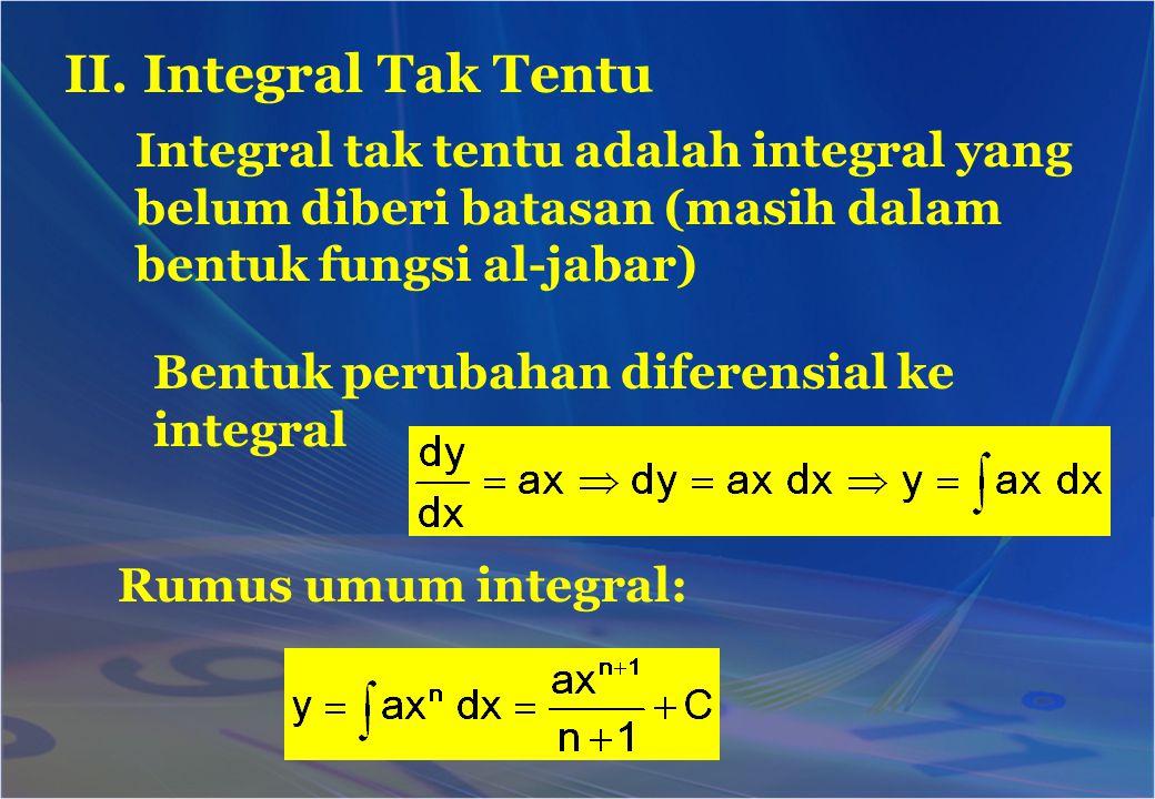 II. Integral Tak Tentu Integral tak tentu adalah integral yang belum diberi batasan (masih dalam bentuk fungsi al-jabar)