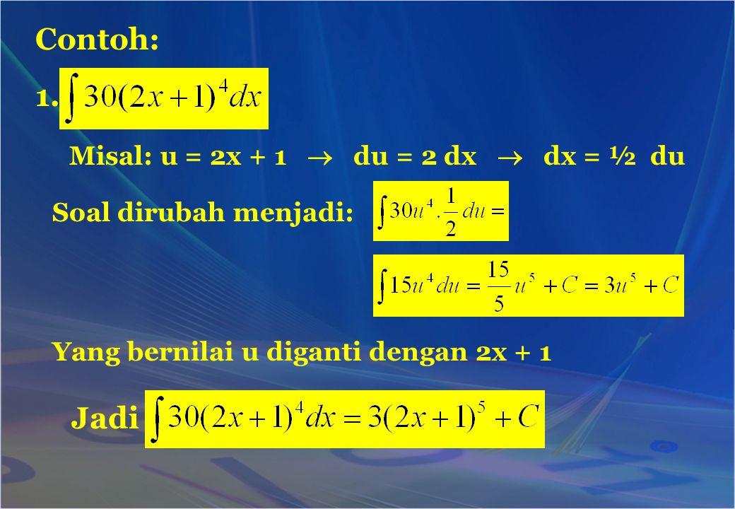 Contoh: 1. Jadi Misal: u = 2x + 1  du = 2 dx  dx = ½ du