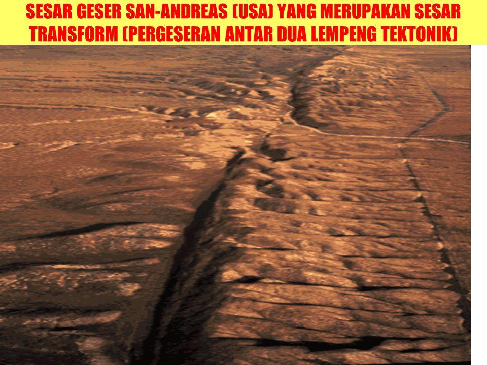 SESAR GESER SAN-ANDREAS (USA) YANG MERUPAKAN SESAR TRANSFORM (PERGESERAN ANTAR DUA LEMPENG TEKTONIK)
