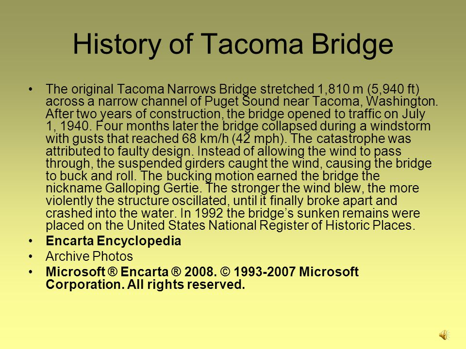 History of Tacoma Bridge