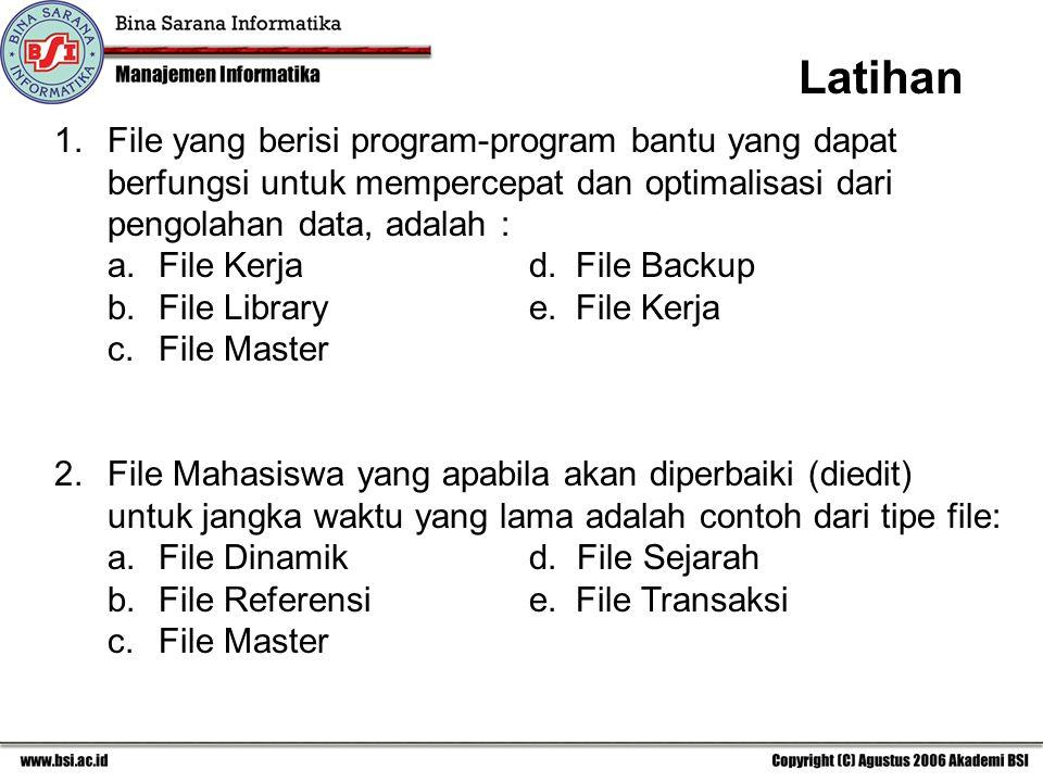 Latihan 1. File yang berisi program-program bantu yang dapat berfungsi untuk mempercepat dan optimalisasi dari pengolahan data, adalah :