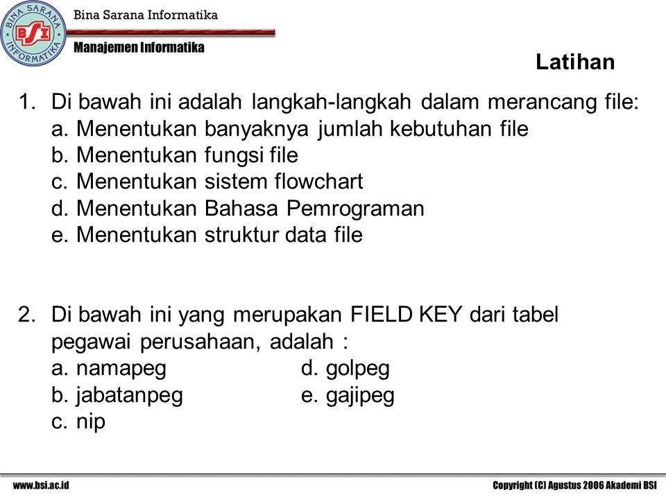 Latihan 1. Di bawah ini adalah langkah-langkah dalam merancang file: a. Menentukan banyaknya jumlah kebutuhan file.