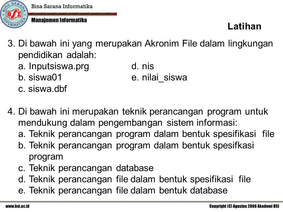 Latihan Di bawah ini yang merupakan Akronim File dalam lingkungan pendidikan adalah: a. Inputsiswa.prg d. nis.
