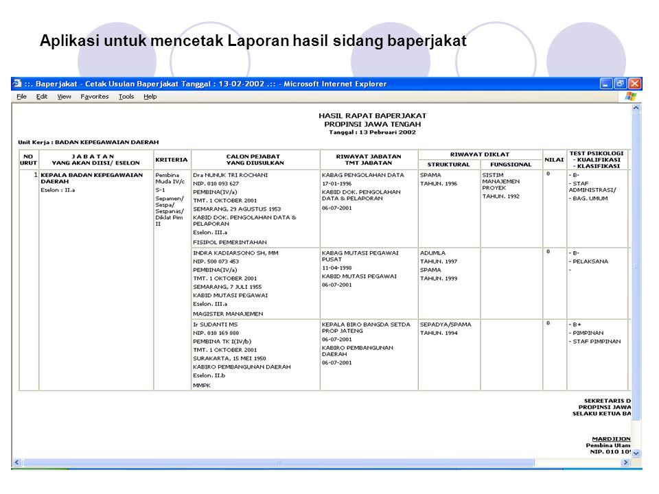 Aplikasi untuk mencetak Laporan hasil sidang baperjakat