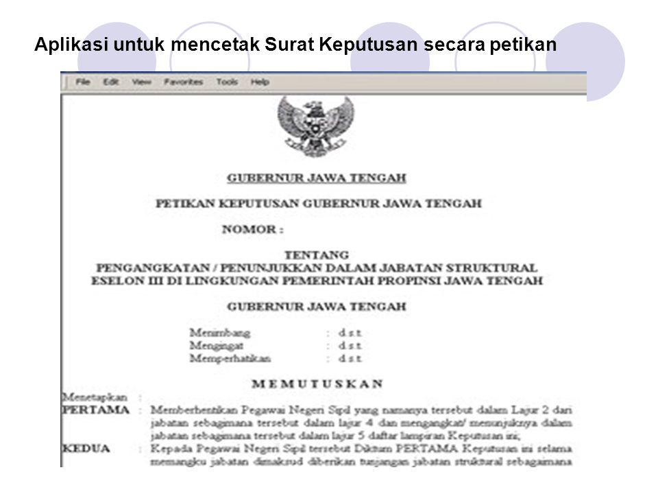 Aplikasi untuk mencetak Surat Keputusan secara petikan