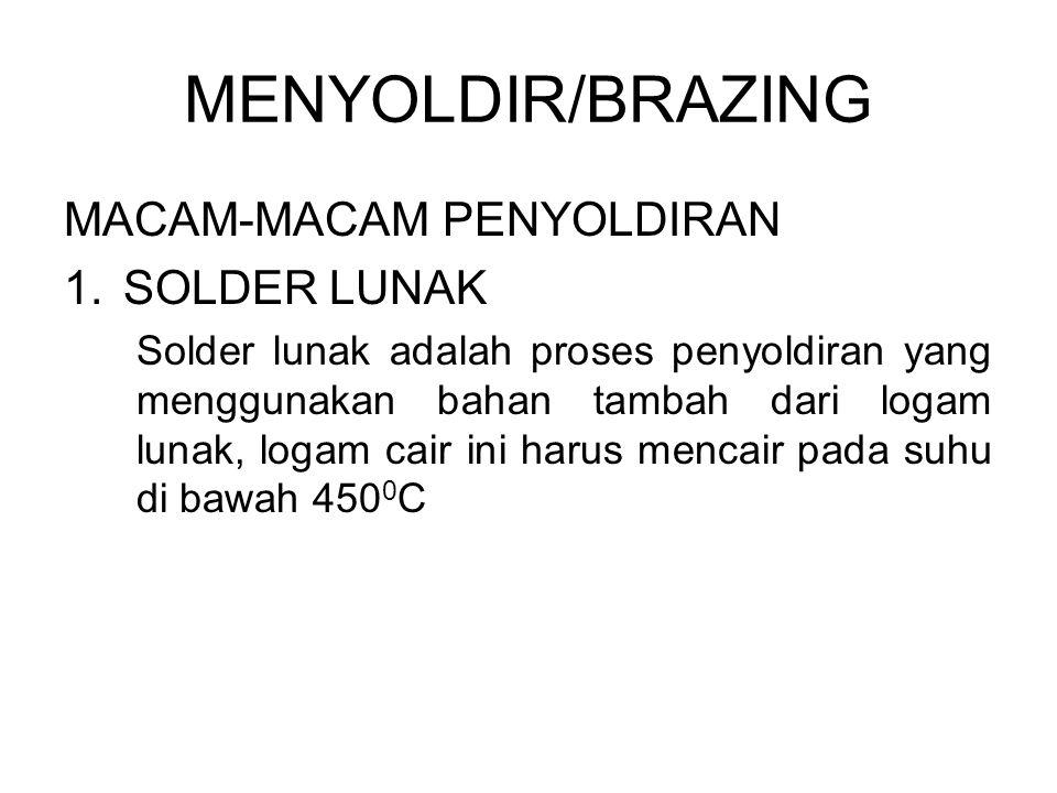 MENYOLDIR/BRAZING MACAM-MACAM PENYOLDIRAN SOLDER LUNAK