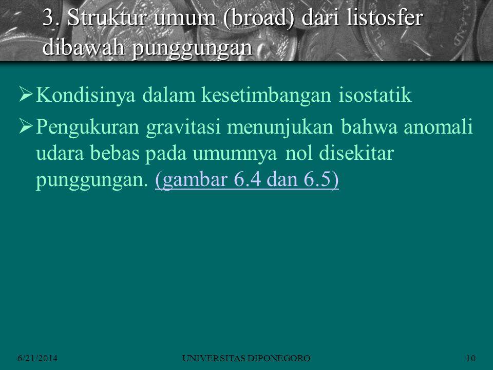 3. Struktur umum (broad) dari listosfer dibawah punggungan