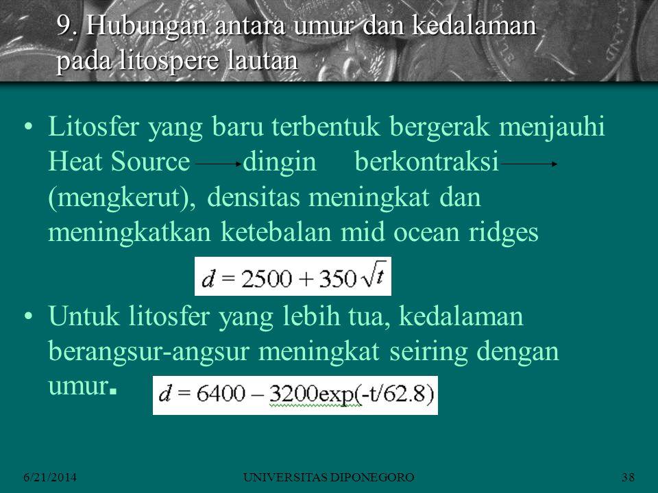 9. Hubungan antara umur dan kedalaman pada litospere lautan