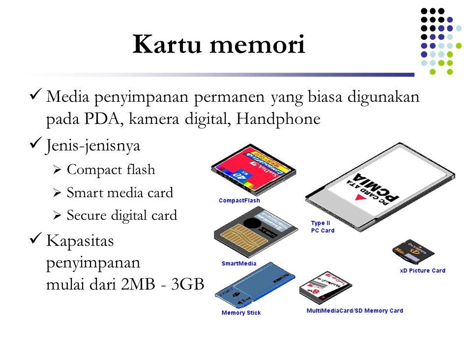 Kartu memori Media penyimpanan permanen yang biasa digunakan pada PDA, kamera digital, Handphone. Jenis-jenisnya.