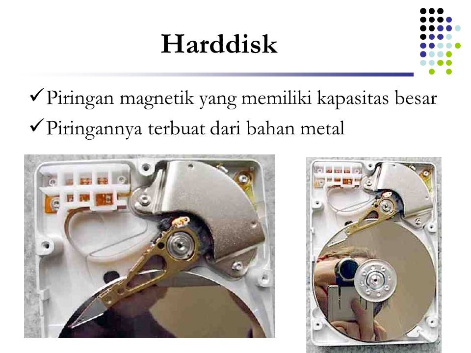 Harddisk Piringan magnetik yang memiliki kapasitas besar