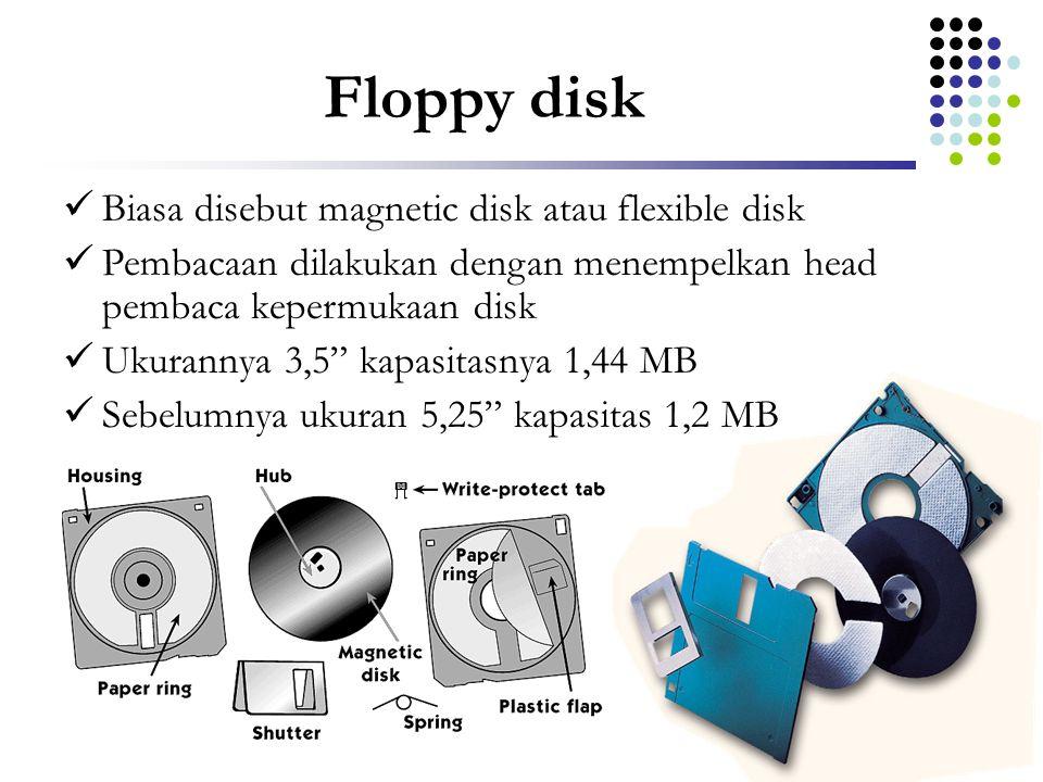 Floppy disk Biasa disebut magnetic disk atau flexible disk