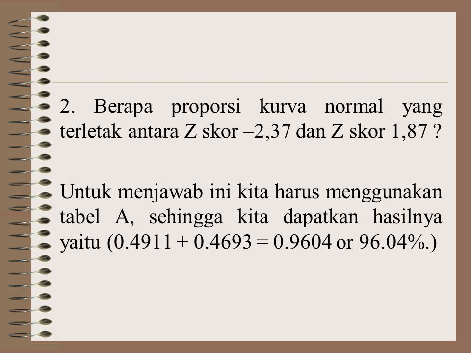 2. Berapa proporsi kurva normal yang terletak antara Z skor –2,37 dan Z skor 1,87
