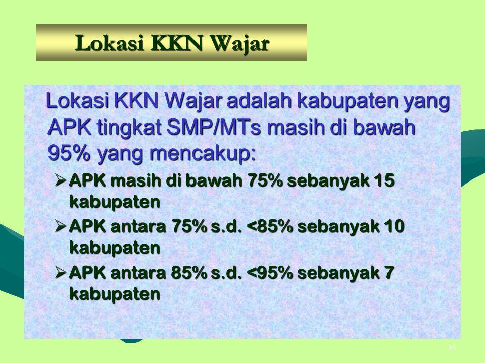 Lokasi KKN Wajar Lokasi KKN Wajar adalah kabupaten yang APK tingkat SMP/MTs masih di bawah 95% yang mencakup: