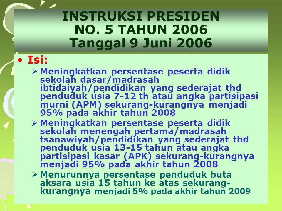 INSTRUKSI PRESIDEN NO. 5 TAHUN 2006 Tanggal 9 Juni 2006