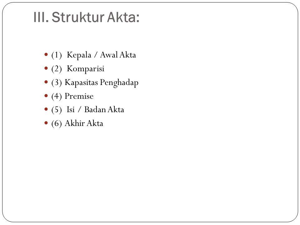 III. Struktur Akta: (1) Kepala / Awal Akta (2) Komparisi
