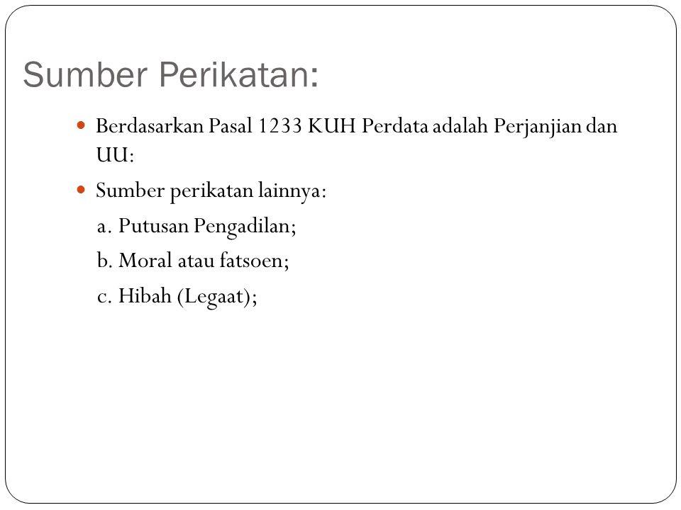 Sumber Perikatan: Berdasarkan Pasal 1233 KUH Perdata adalah Perjanjian dan UU: Sumber perikatan lainnya: