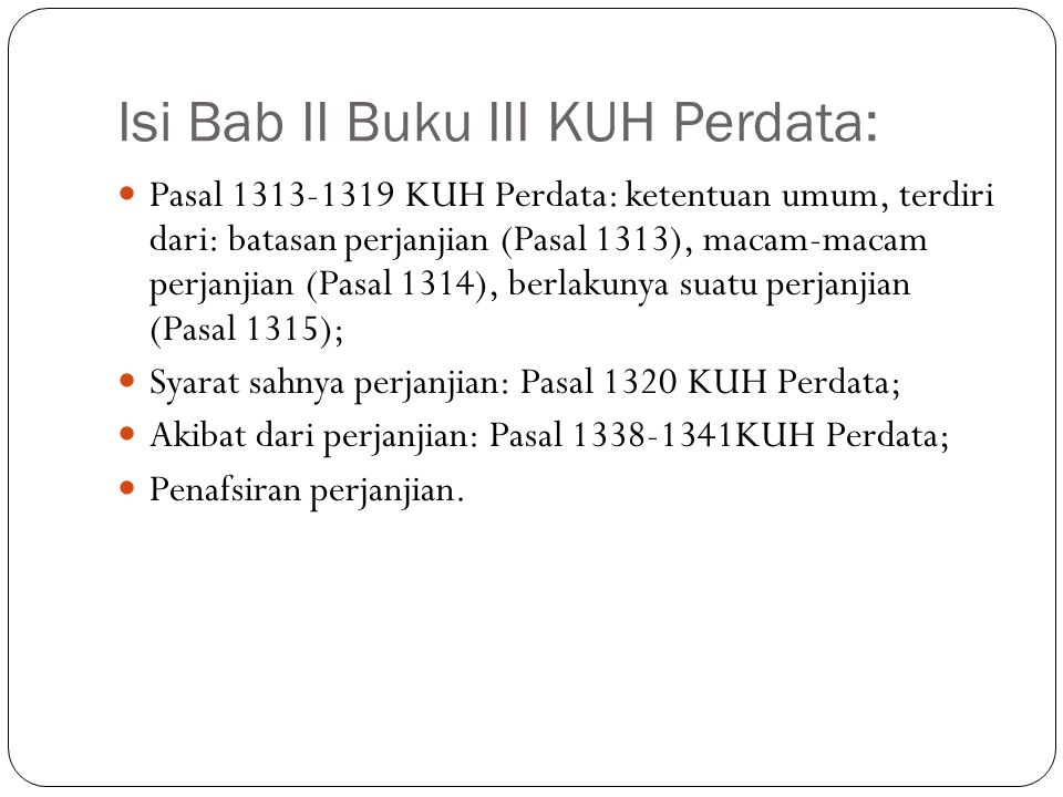 Isi Bab II Buku III KUH Perdata: