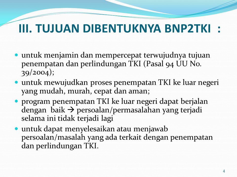 III. TUJUAN DIBENTUKNYA BNP2TKI :