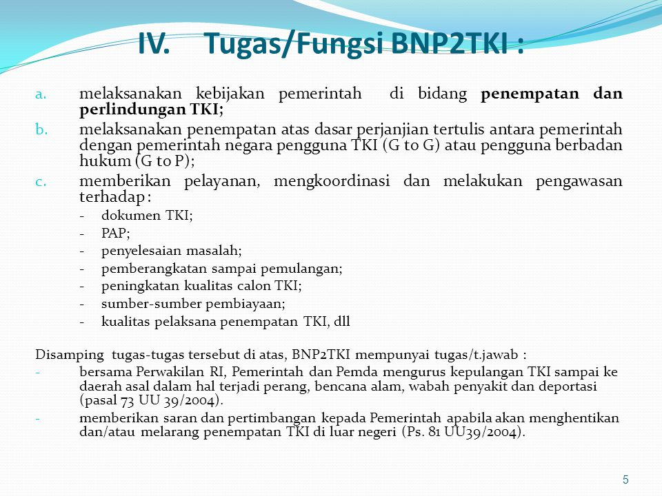 IV. Tugas/Fungsi BNP2TKI :