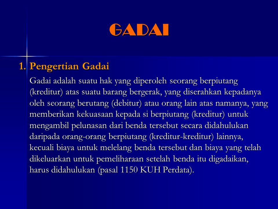GADAI 1. Pengertian Gadai