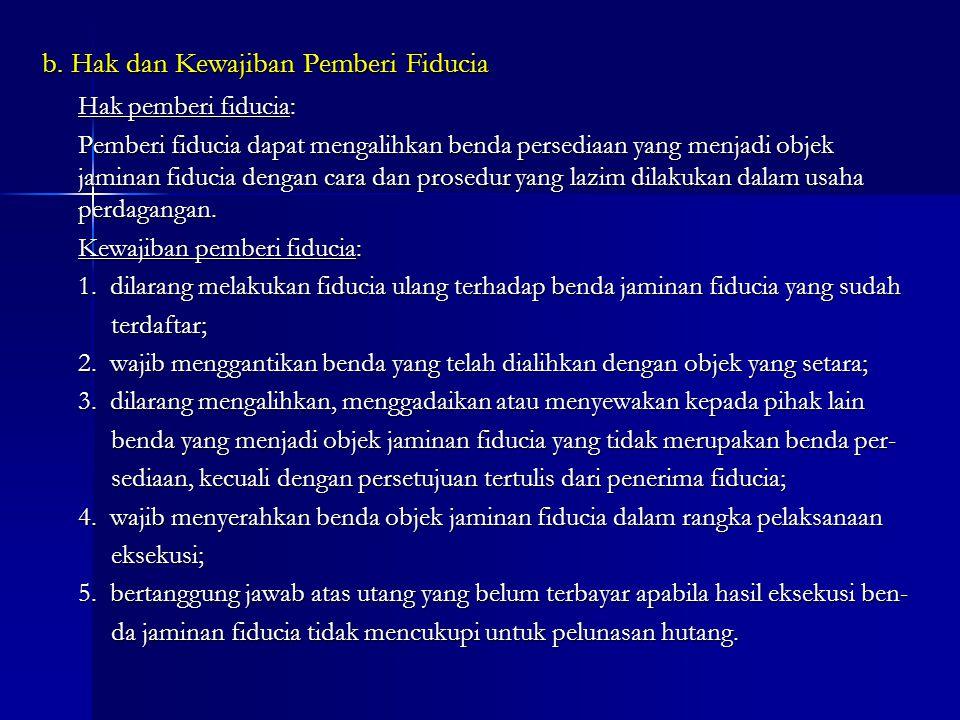 b. Hak dan Kewajiban Pemberi Fiducia Hak pemberi fiducia: