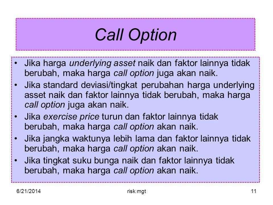 Call Option Jika harga underlying asset naik dan faktor lainnya tidak berubah, maka harga call option juga akan naik.