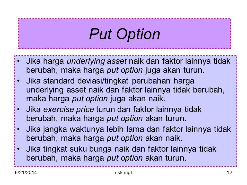 Put Option Jika harga underlying asset naik dan faktor lainnya tidak berubah, maka harga put option juga akan turun.