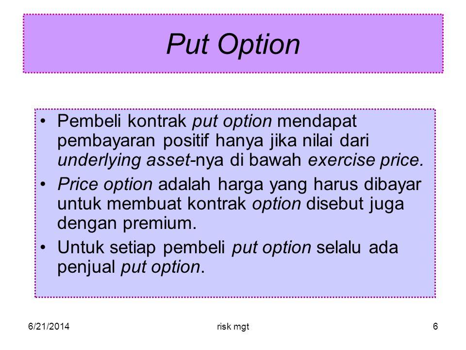 Put Option Pembeli kontrak put option mendapat pembayaran positif hanya jika nilai dari underlying asset-nya di bawah exercise price.