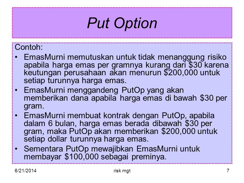 Put Option Contoh: