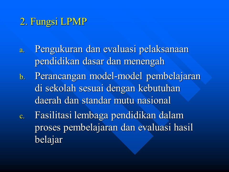 2. Fungsi LPMP Pengukuran dan evaluasi pelaksanaan pendidikan dasar dan menengah.