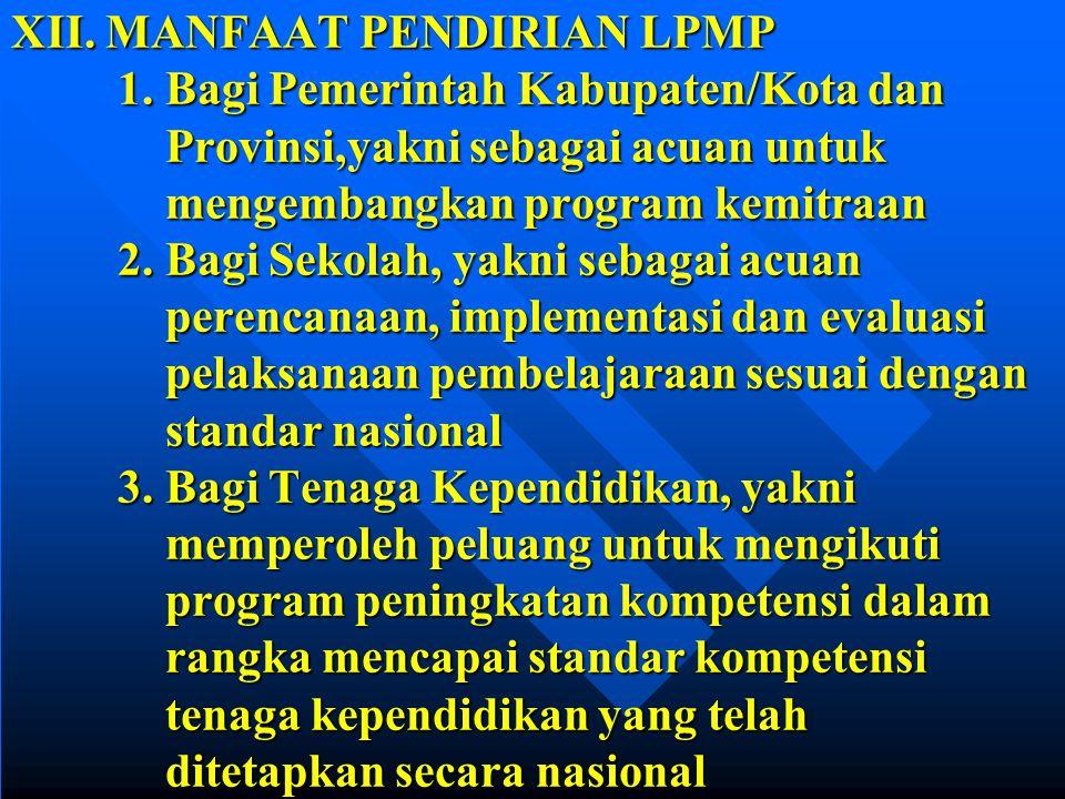 XII. MANFAAT PENDIRIAN LPMP. 1. Bagi Pemerintah Kabupaten/Kota dan