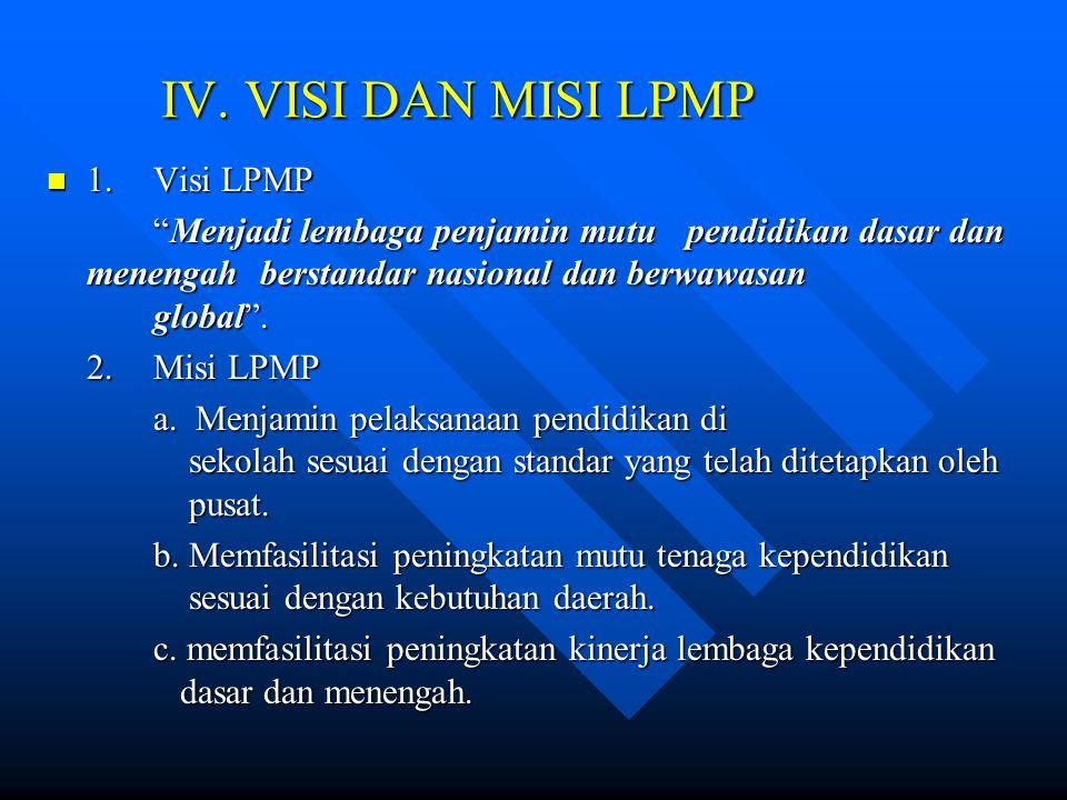 IV. VISI DAN MISI LPMP 1. Visi LPMP