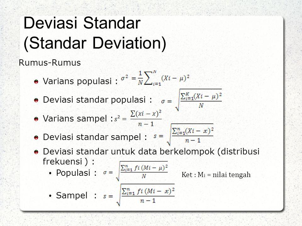 Deviasi Standar (Standar Deviation) Rumus-Rumus Varians populasi :