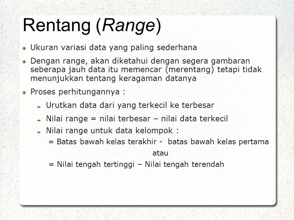 Student Lecture Notes Rentang (Range) Ukuran variasi data yang paling sederhana.