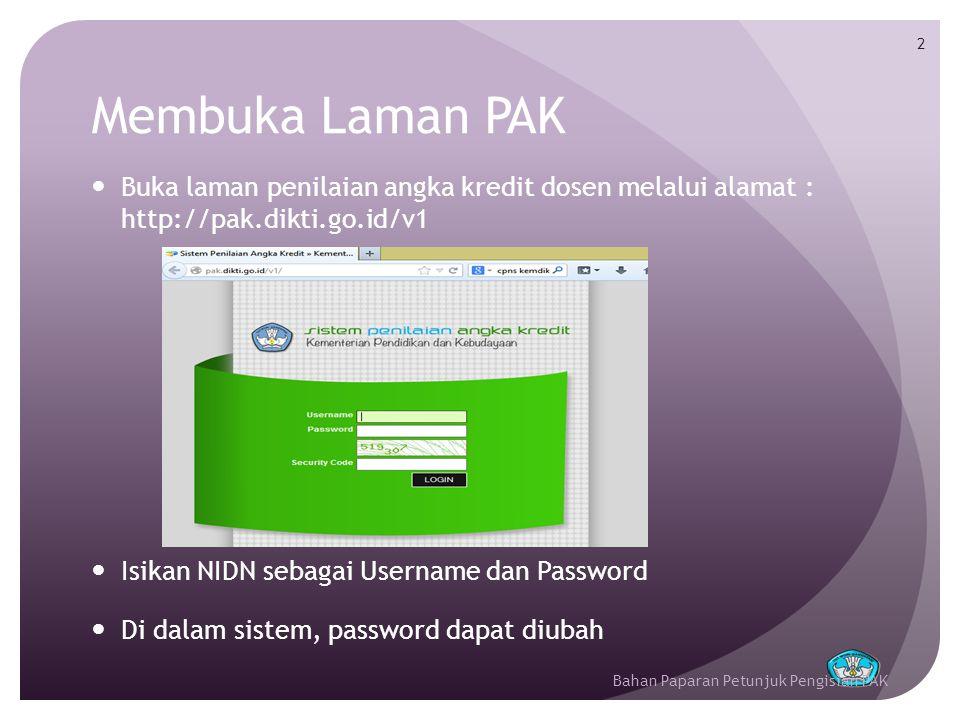 Membuka Laman PAK Buka laman penilaian angka kredit dosen melalui alamat : http://pak.dikti.go.id/v1.