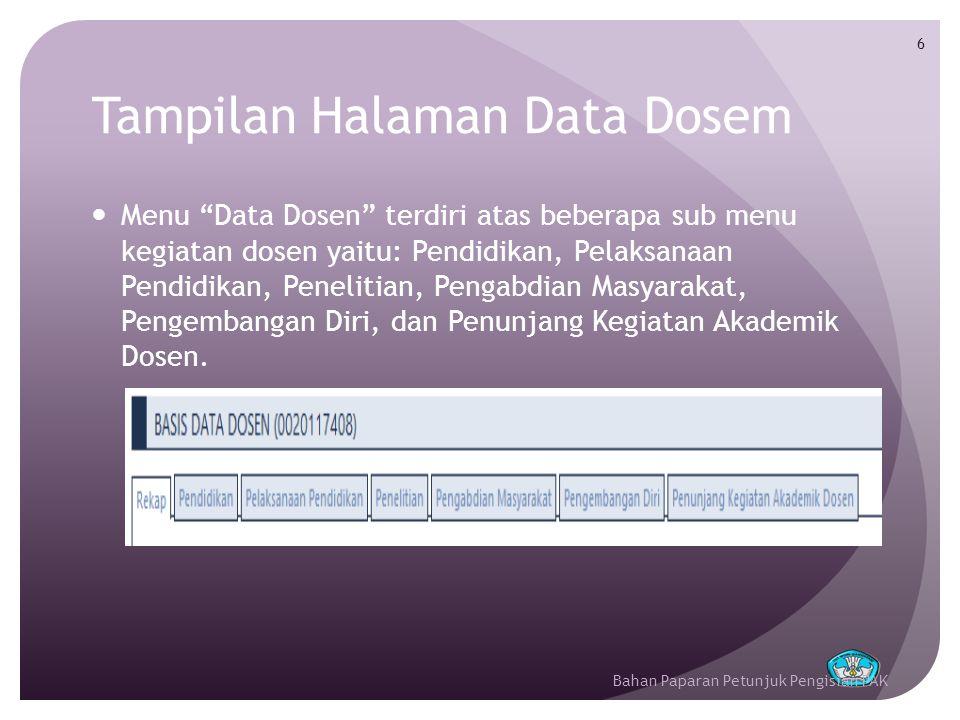 Tampilan Halaman Data Dosem