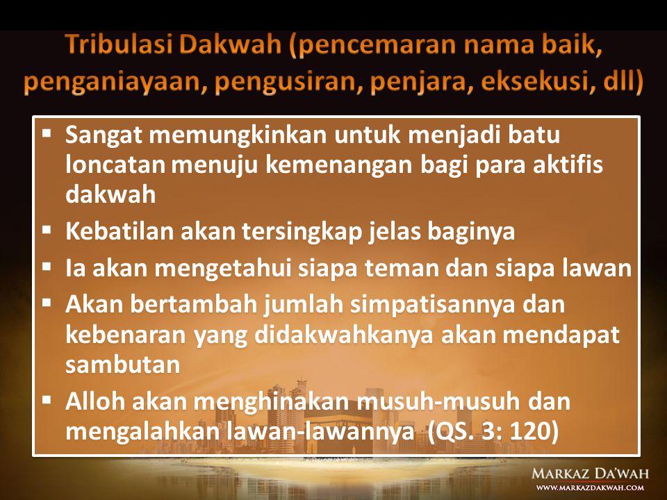 Tribulasi Dakwah (pencemaran nama baik, penganiayaan, pengusiran, penjara, eksekusi, dll)