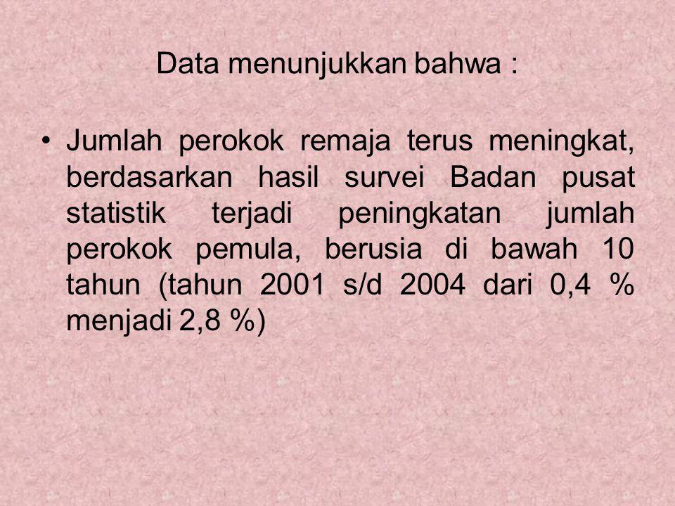 Data menunjukkan bahwa :