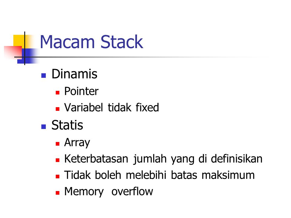 Macam Stack Dinamis Statis Pointer Variabel tidak fixed Array