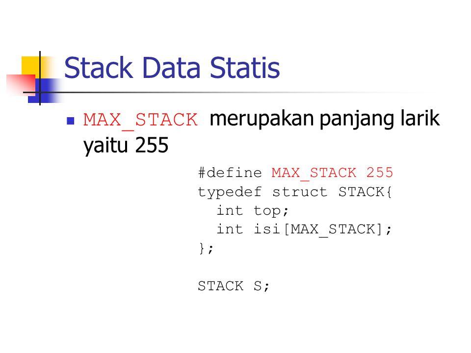 Stack Data Statis MAX_STACK merupakan panjang larik yaitu 255