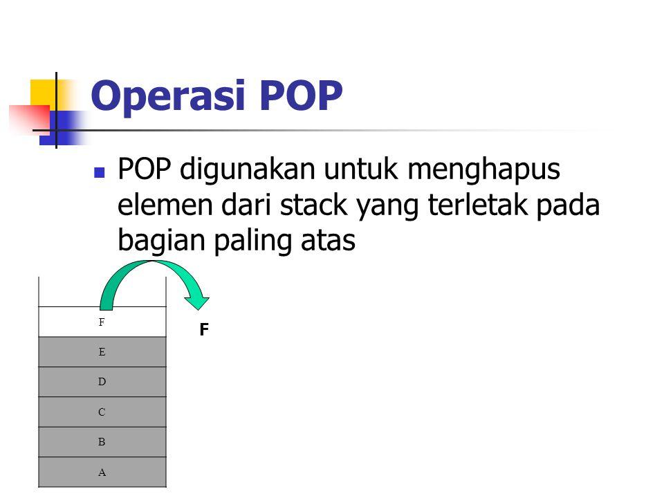 Operasi POP POP digunakan untuk menghapus elemen dari stack yang terletak pada bagian paling atas. F.