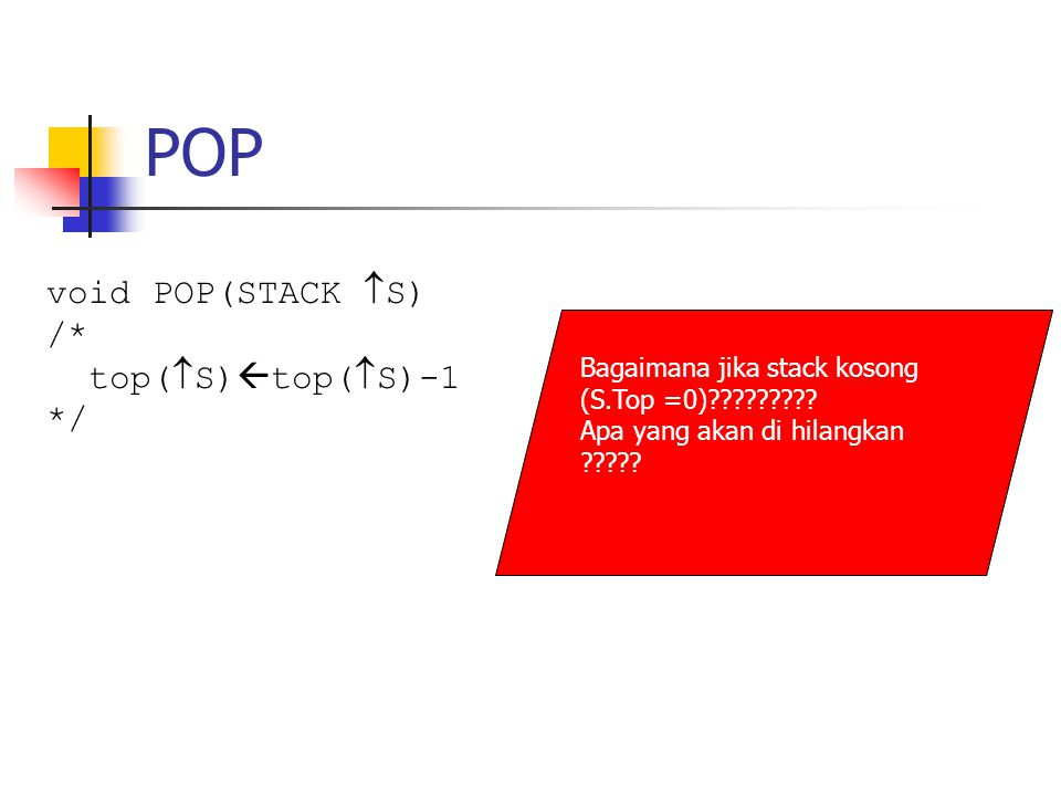 POP void POP(STACK S) /* top(S)top(S)-1 */