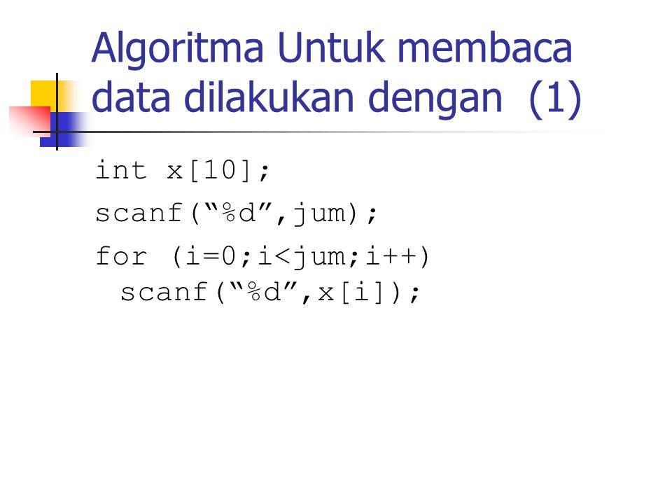 Algoritma Untuk membaca data dilakukan dengan (1)